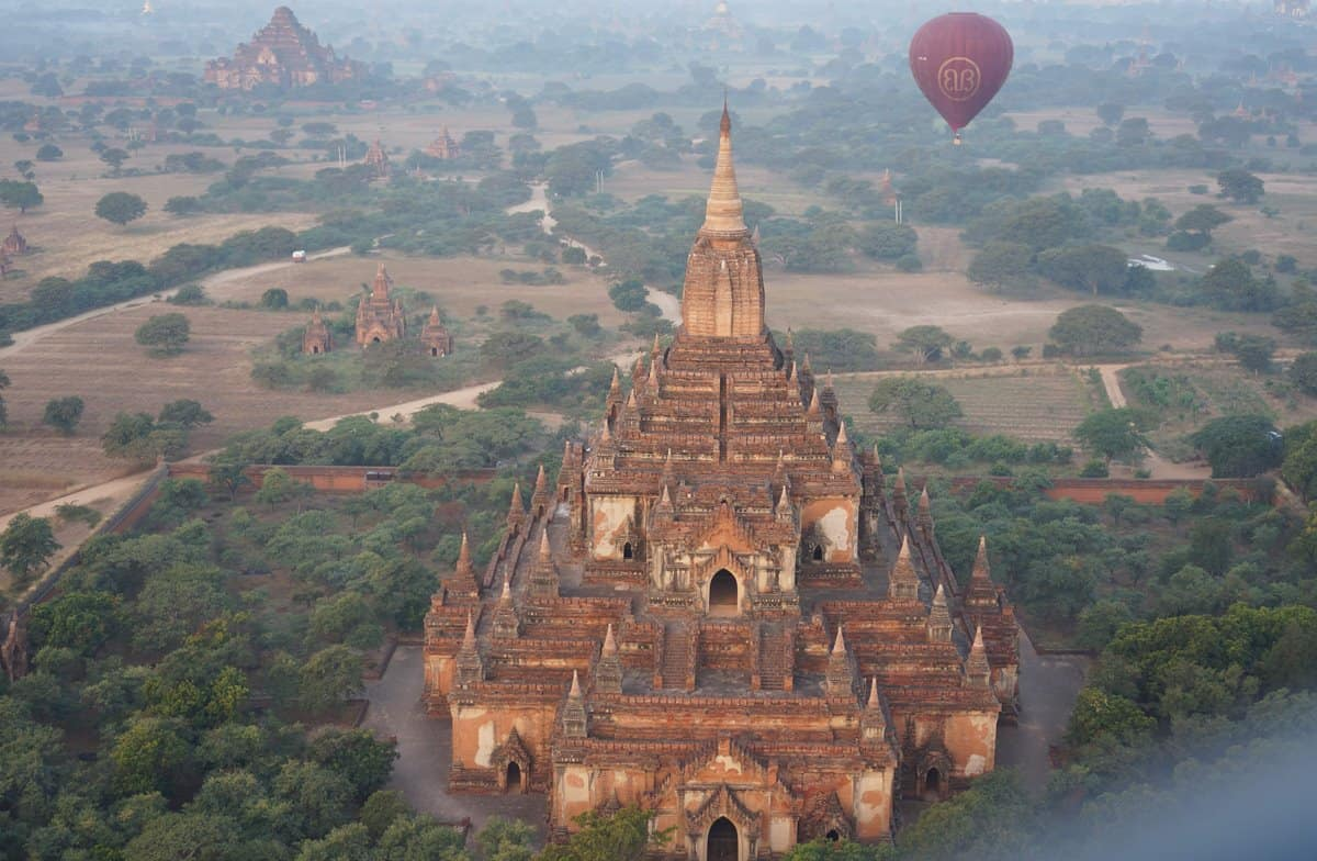 An aerial view of Htilominlo Temple on the Bagan Plains in Myanmar.