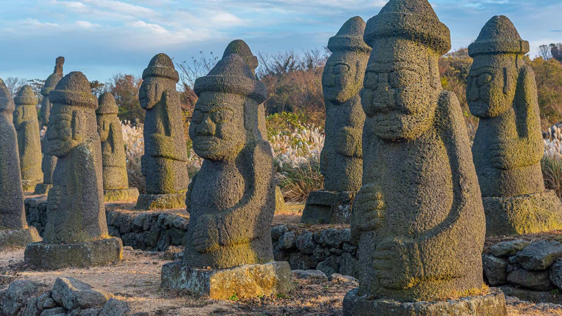 Dol hareubang statues at Jeju stone park in South Korea.