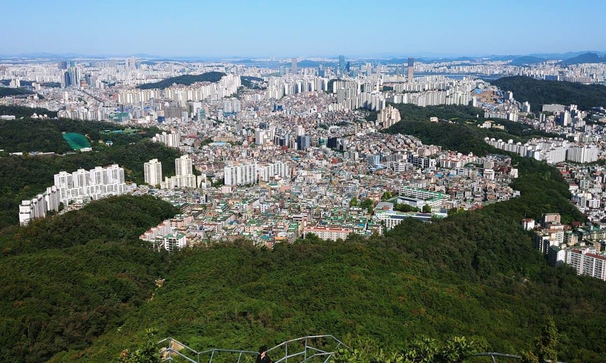 The view across Seoul from Gwanak Mountain.