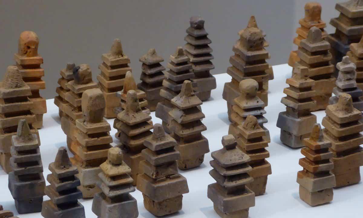 A collection of model , clay pagodas from Gyeongju, South Korea.