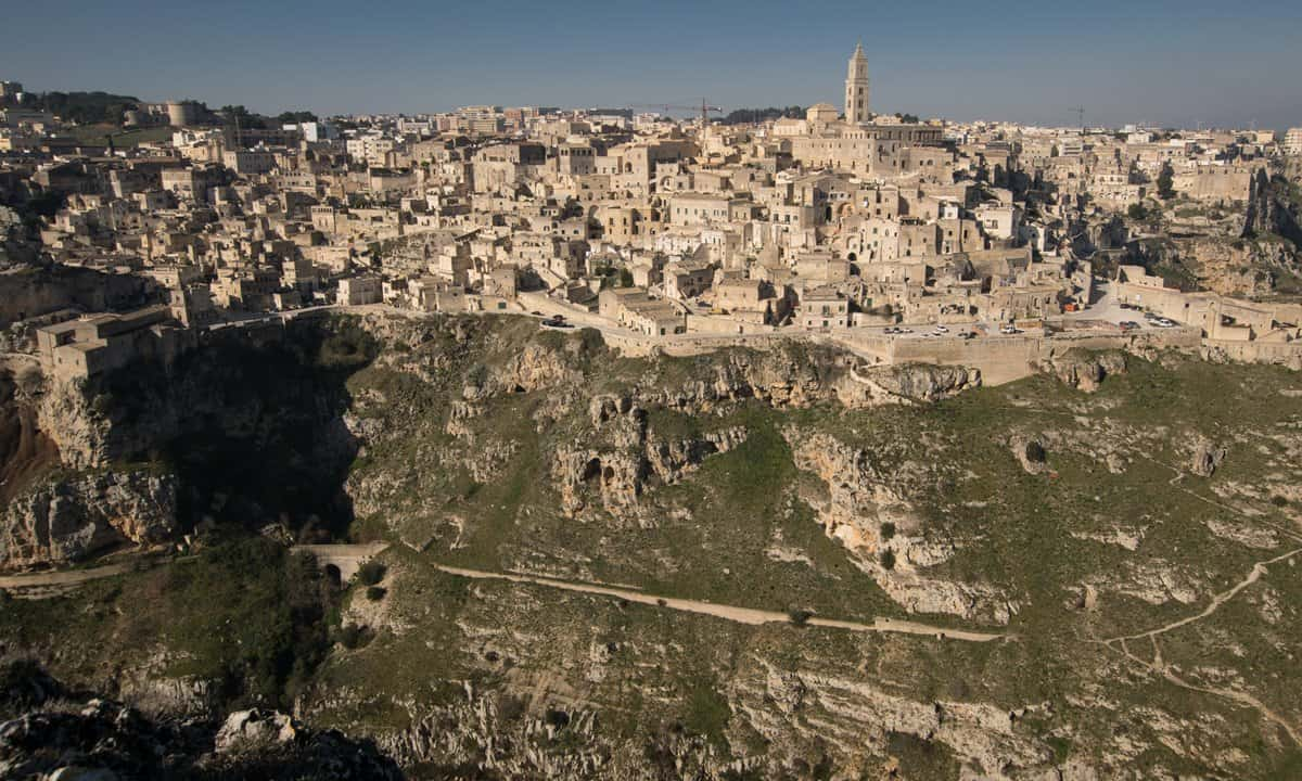 Looking over a deep ravine onto the Sassi of Matera, Italy.