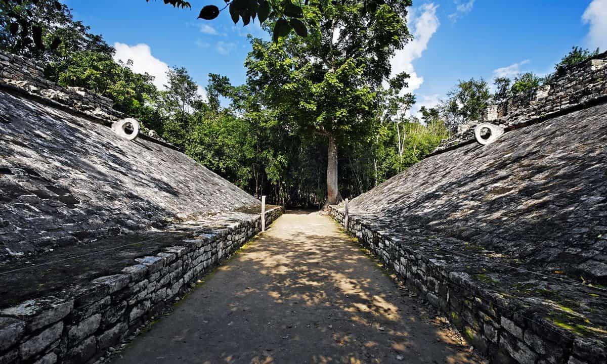 The Mayan ball court at Coba.