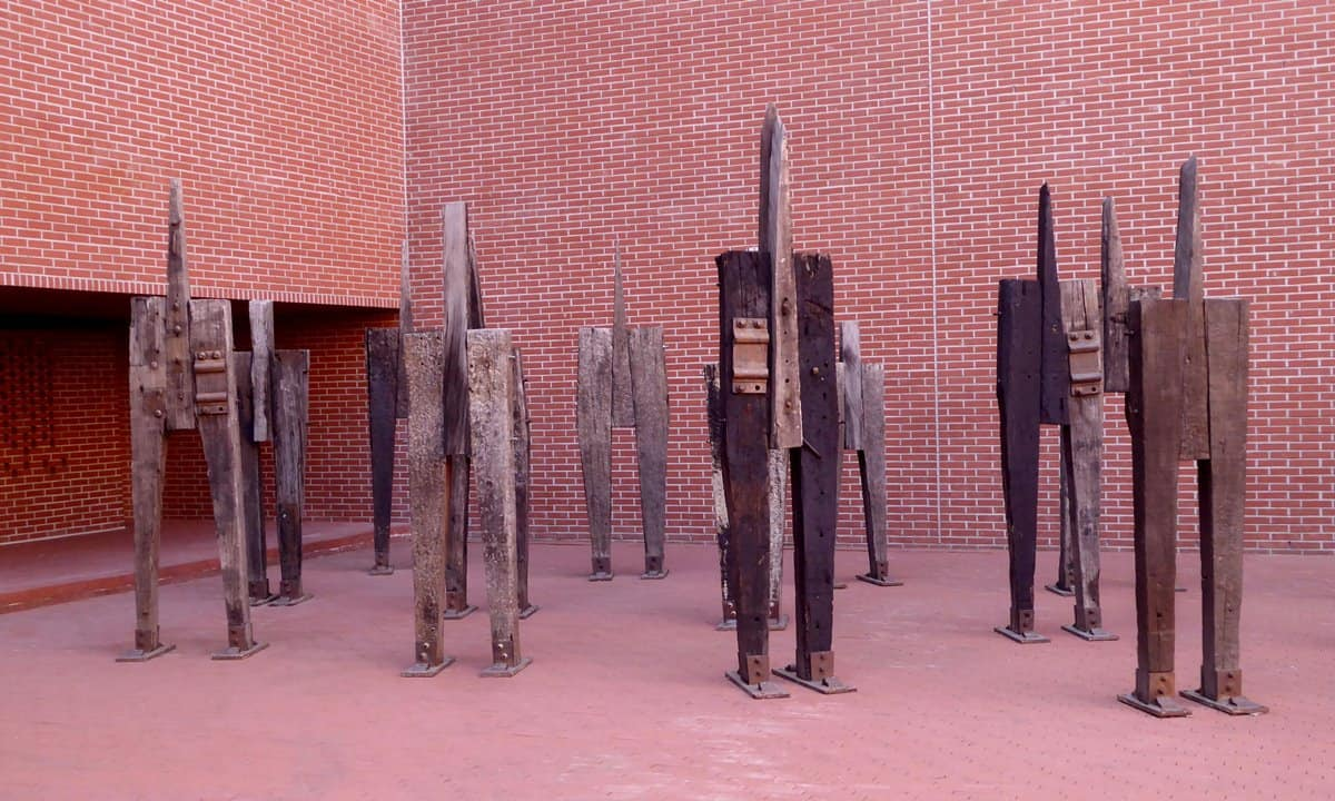 A sculptural installation with human-like figures, called '44 Martyrs'.