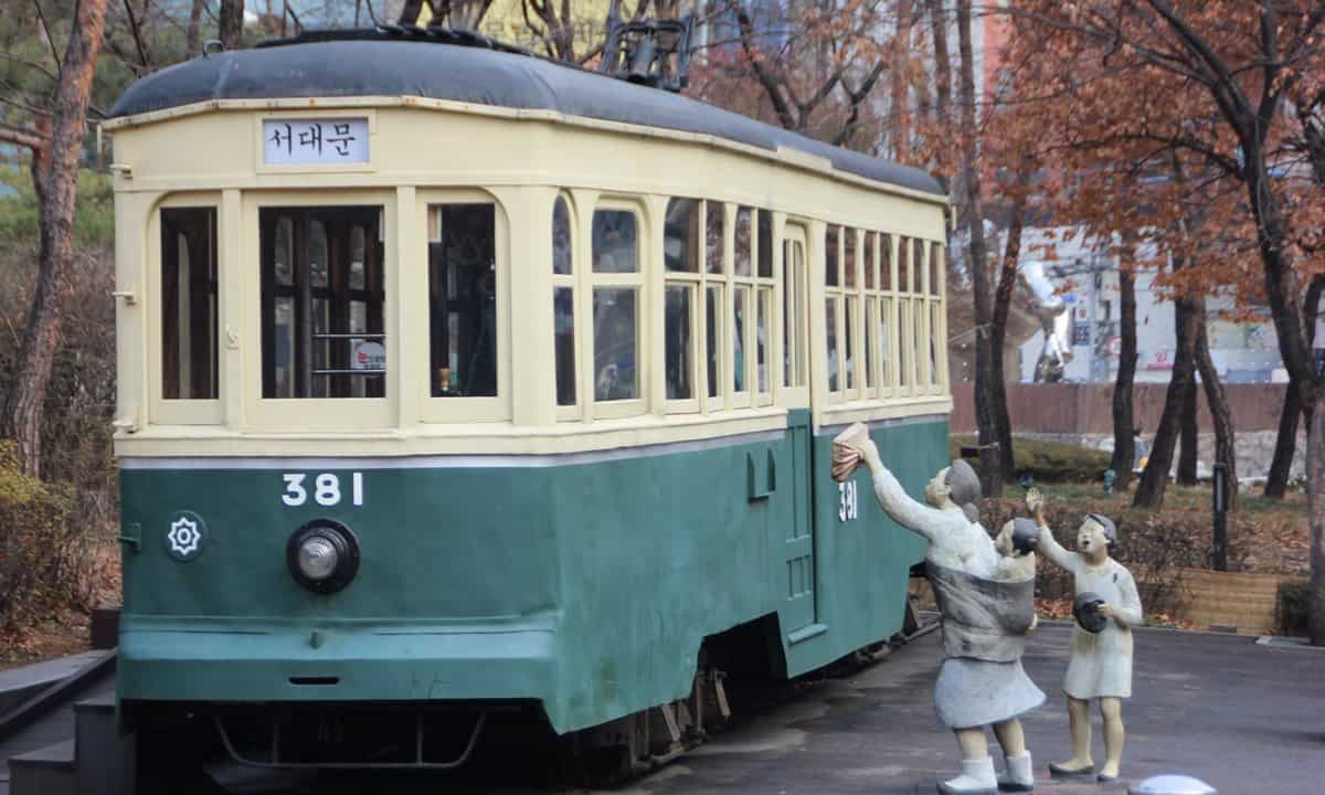 1930s streetcar in the gardens of the Seoul History Museum.