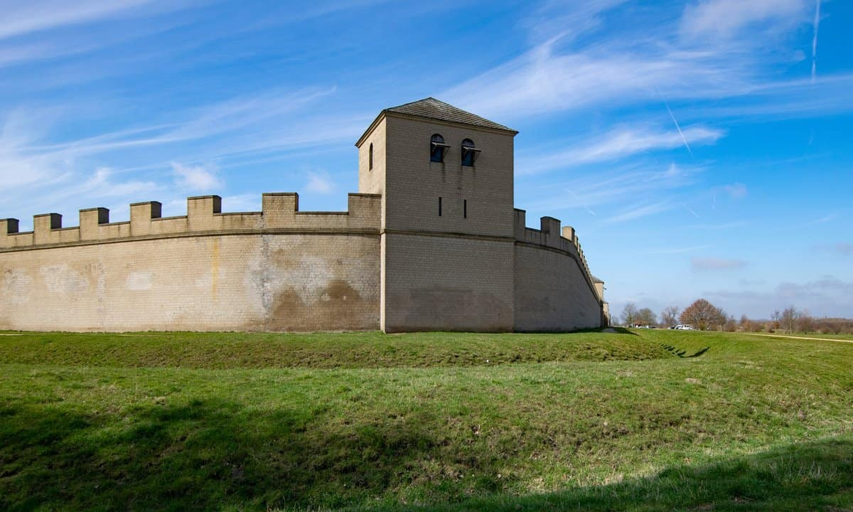Part of the reconstructed outer wall of the Roman fort in the Xanten Archaeological Park.