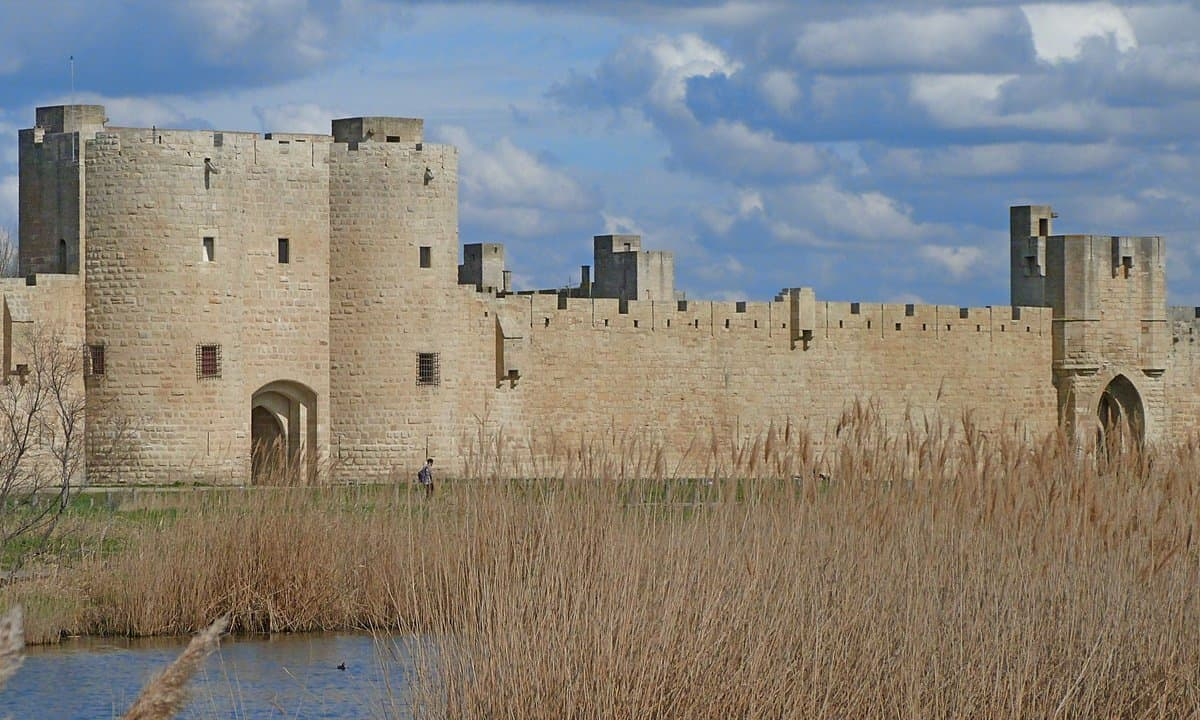 The well preserved medieval city walls surrounding Aigues Mortes on the Camargue of France.