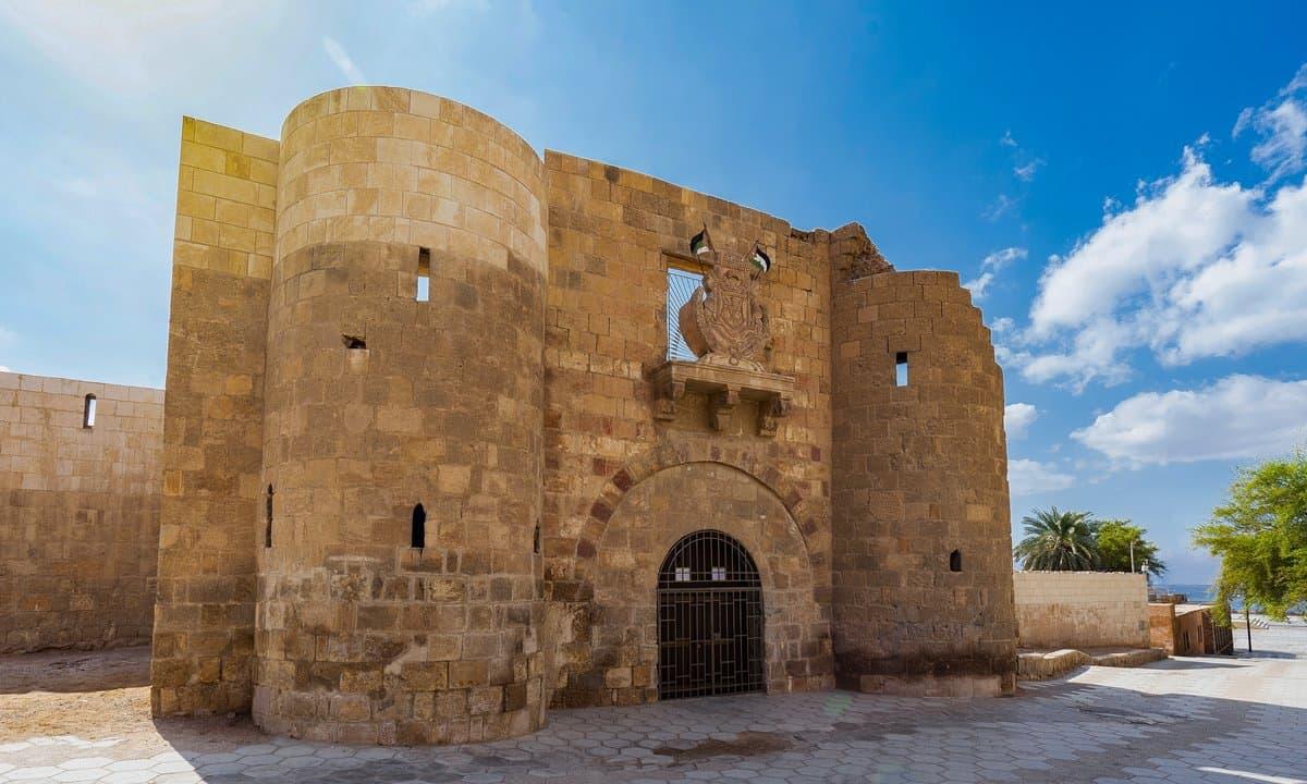 The entrance gate to Aqaba Fortress, Jordan.