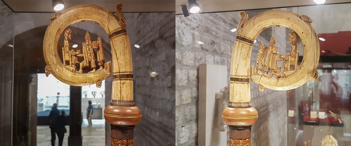 Two sides of the same crosier, the crosseron depicts the 'adoration of the magi'.