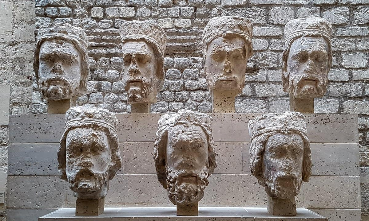 Heads of kings of France sculptured in Limestone that used to adorn the Notre Dame Cathedral.