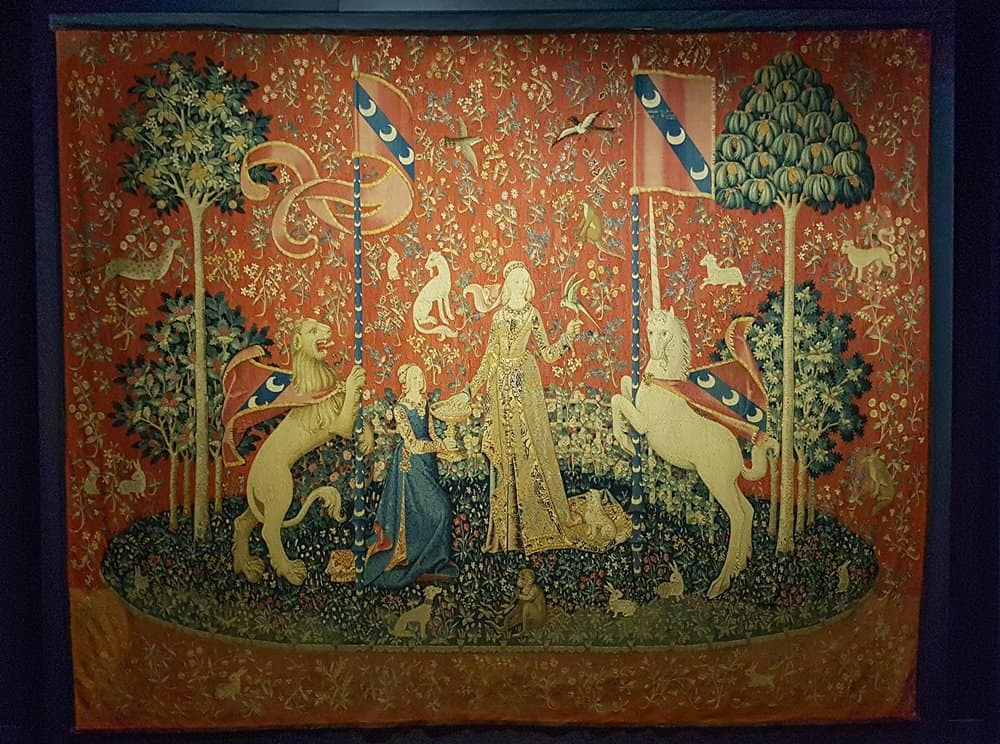 One of the six tapestries in the Lady and the Unicorn series.