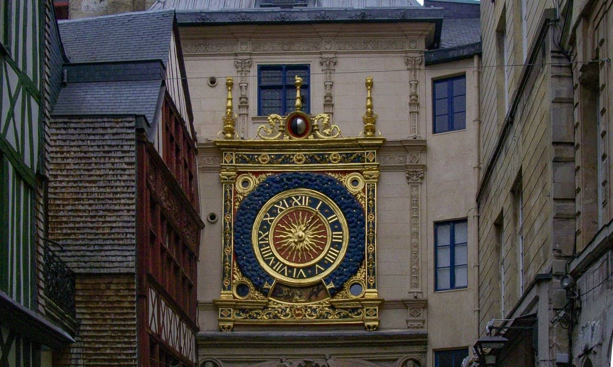 The ornate clock face of Le Gros Horloge.