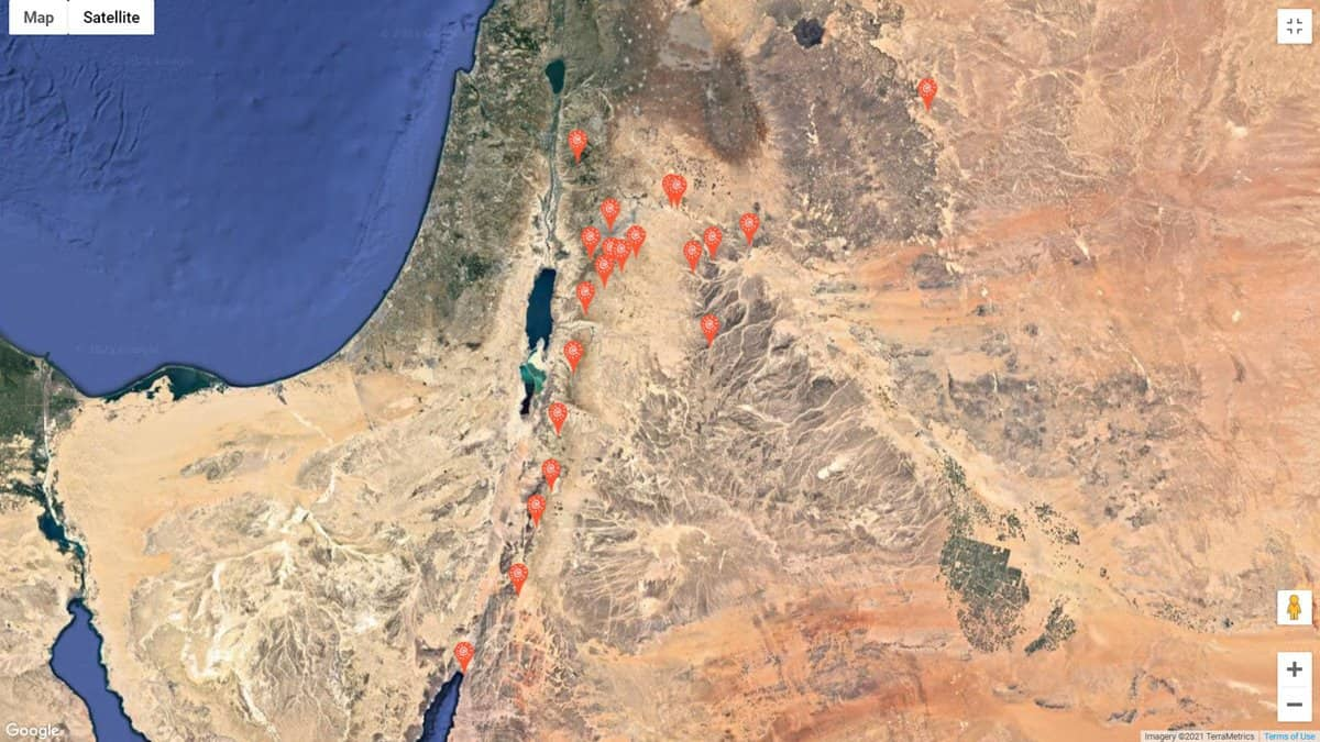 A map showing the locations of Crusader Castles and Umayyad Desert Castles in Jordan.