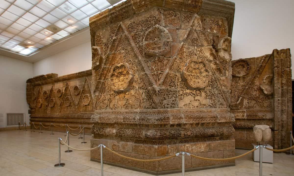 Part of the façade of the Mshatta desert castle in the Pergamon Museum.