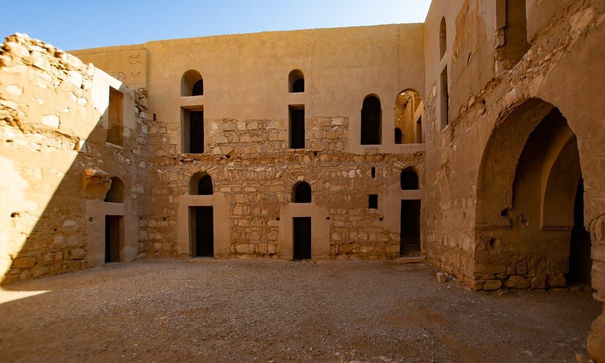 The interior courtyard of Qasr Al-Kharanah.