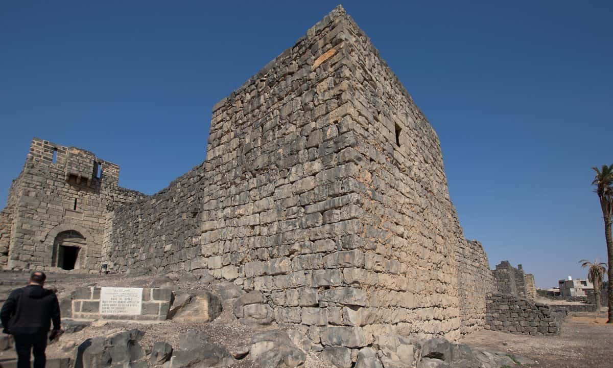 The entrance to the striking 'black castle' at Azraq - the stone is black basalt.