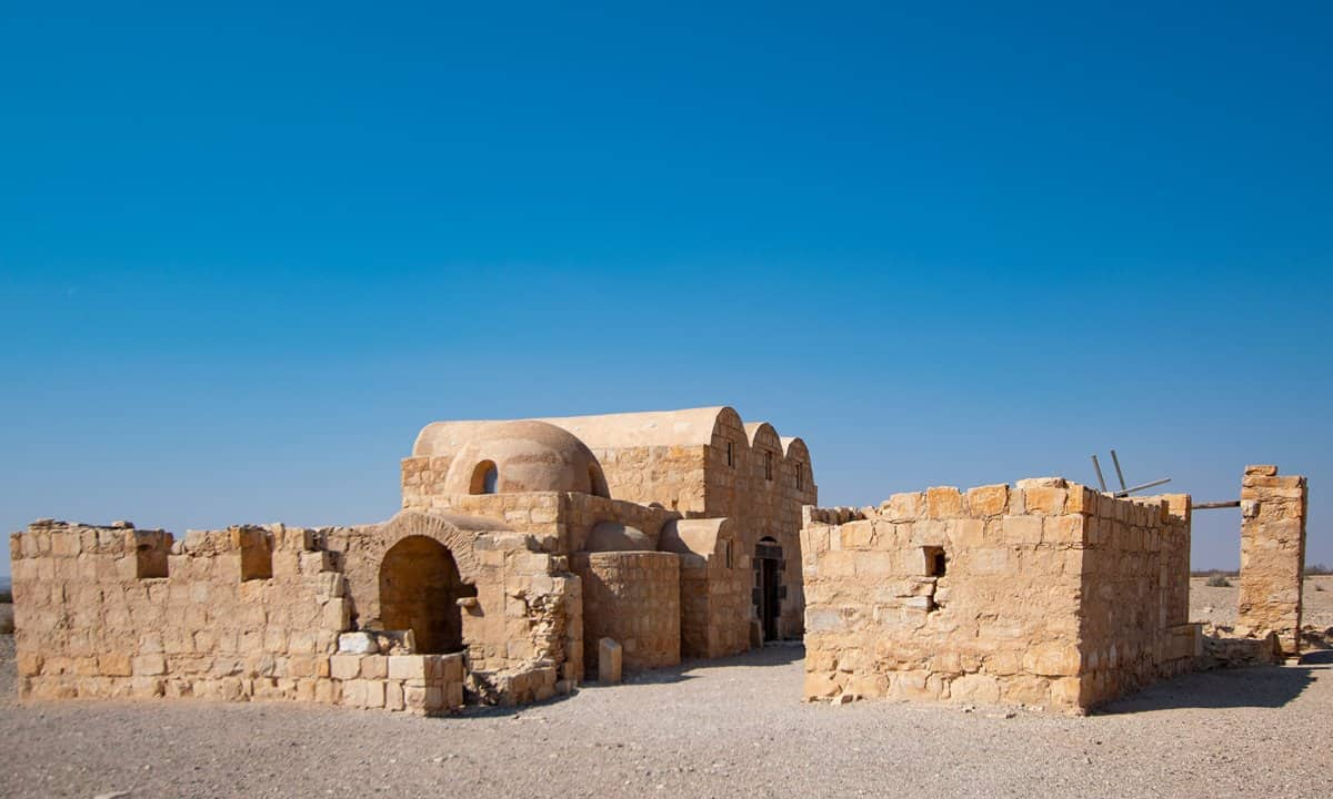 The remains of what was a much larger castle complex at Qusayr 'Amra.