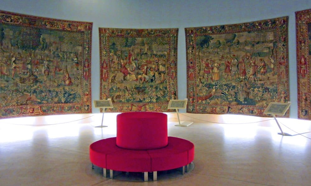 Sixteenth century tapestries hanging in the Museum of Fine Art in Saint-Lô.