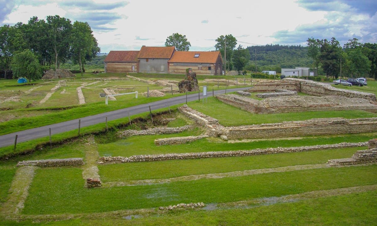Looking over the ruins of the temple and basilica at the Roman site of Briga in Normandy.
