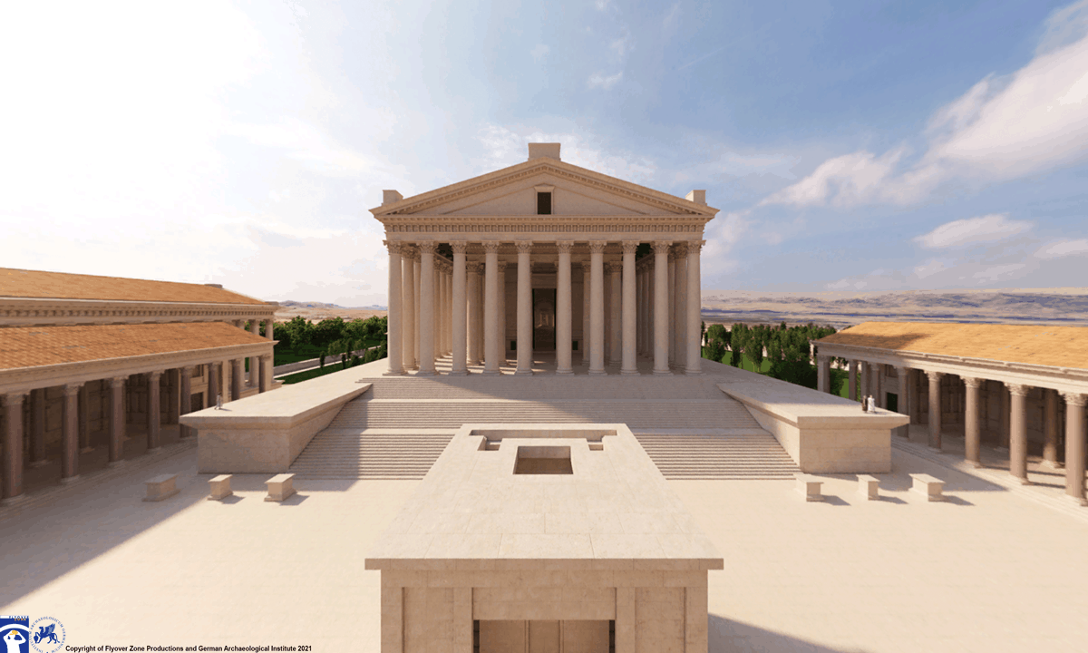 The 3D reconstruction of the court and Temple of Jupiter at Baalbek.