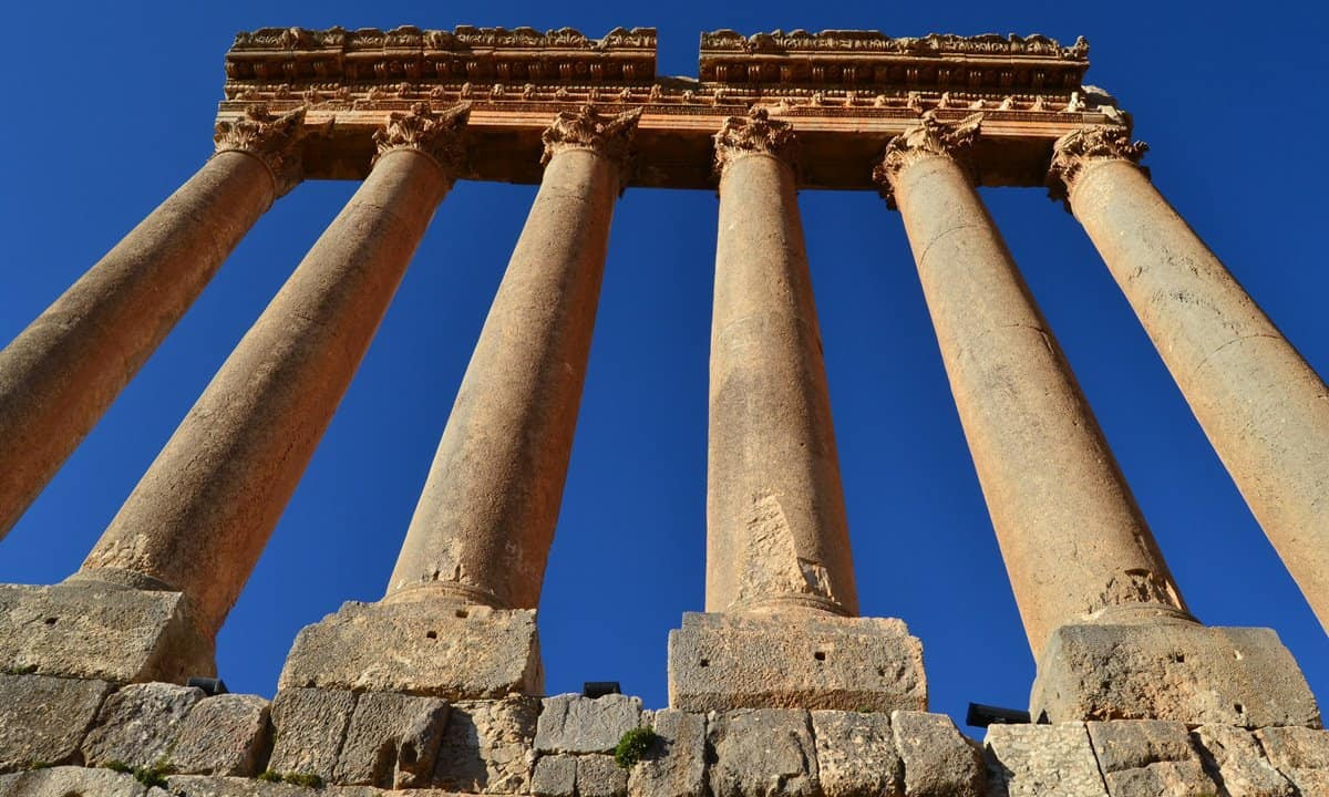 The six surviving columns of the Temple of Jupiter that stand 40 metres above ground level.