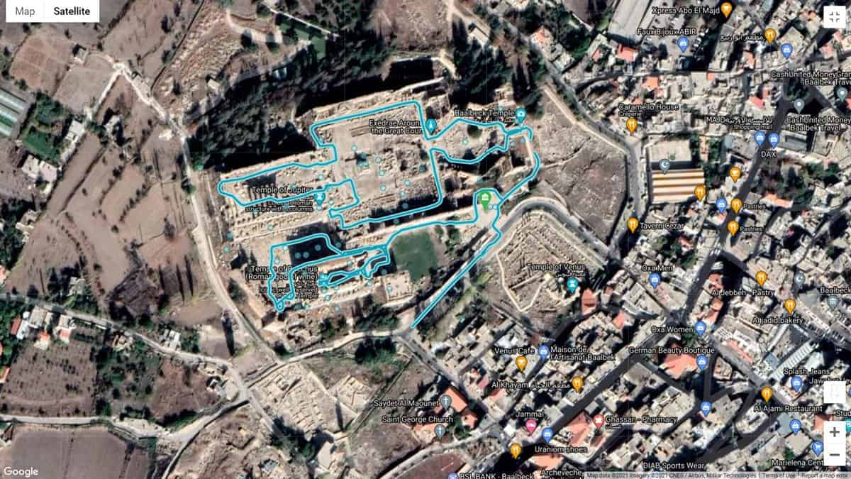 Google Streetview map of the Baalbek Temple complex.