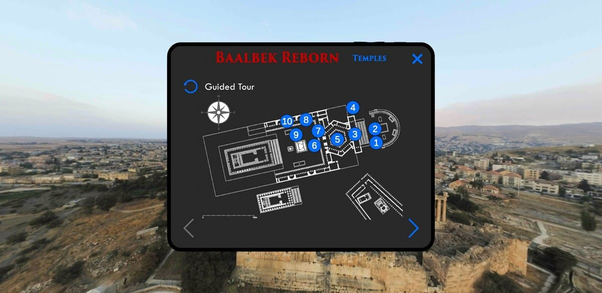 A screencap from the Baalbek Reborn app showing the map.