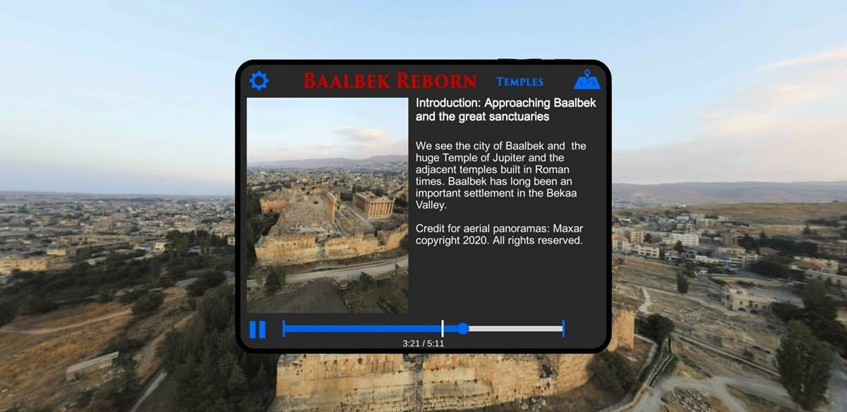 The introductory screen on the Baalbek Reborn app.