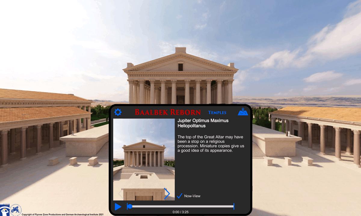 A screencap from the Baalbek Reborn: Temples app.