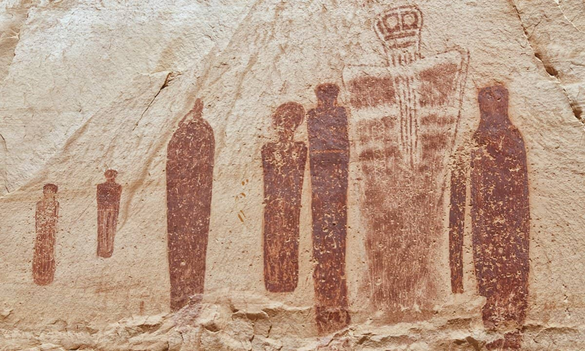 The 'Holy Ghost' panel of rock art in Horseshoe Canyon.