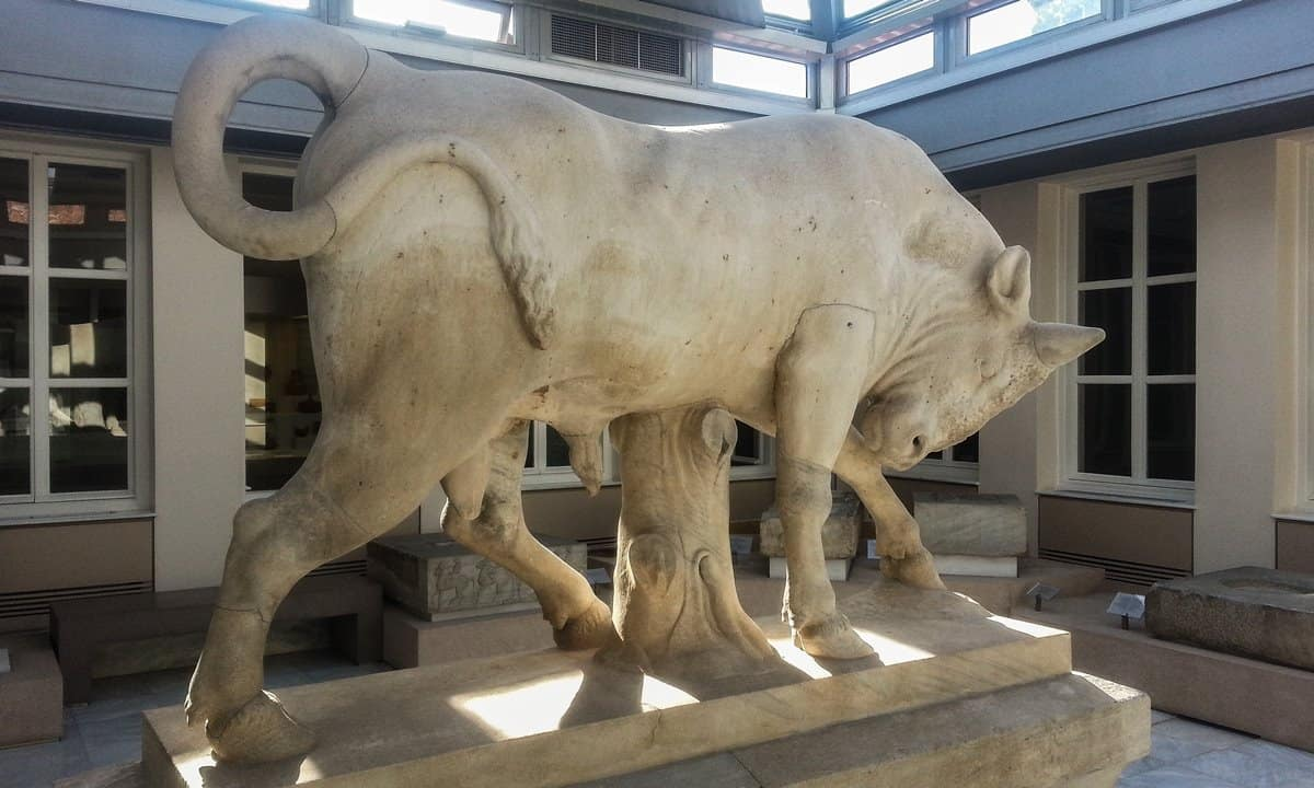 Funerary monument in the form of a bull, in the Kerameikos Museum, Athens.