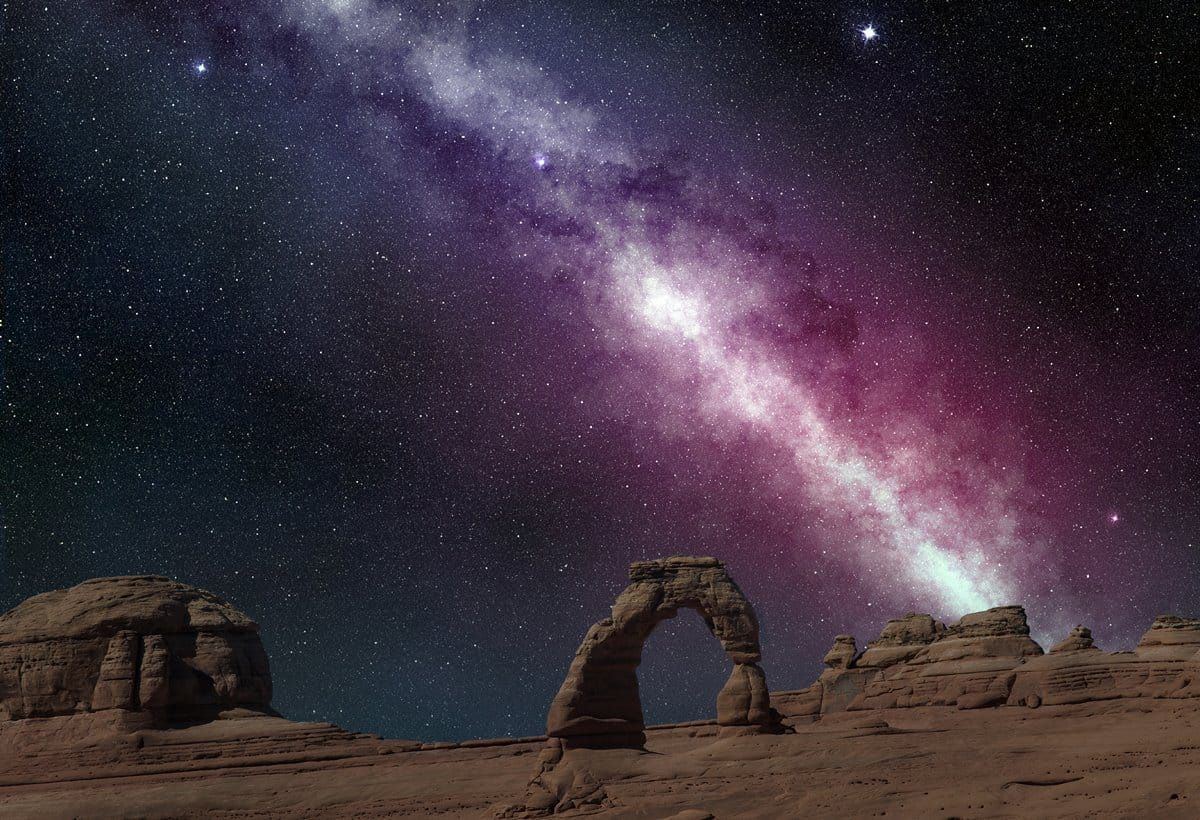 The Milky Way as a backdrop to Delicate Arch, Arches National Park.