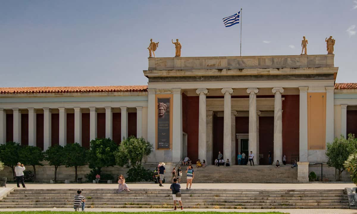 The neoclassical façade of the entrance to the National Archaeological Museum in Athens.