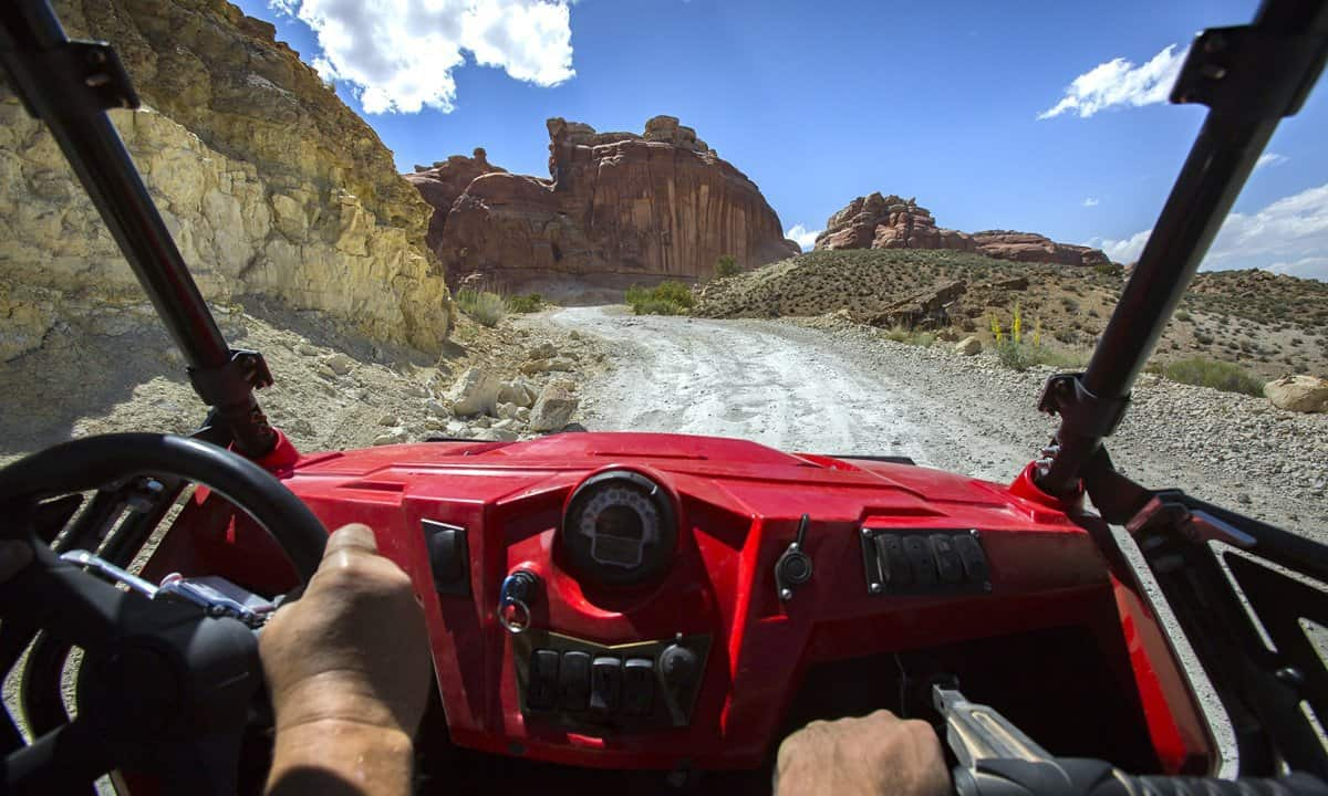 A view of off roading from within the vehicle.