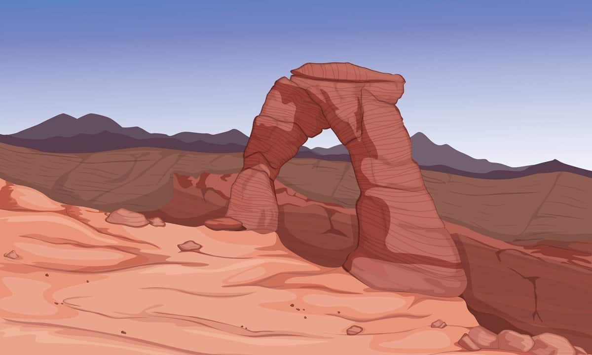A digital artist's rendition of Delicate Arch.