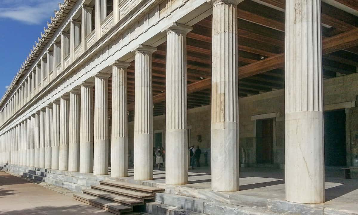 Columns of the reconstructed Stoa of Attalos in the Ancient Agora, Athens.