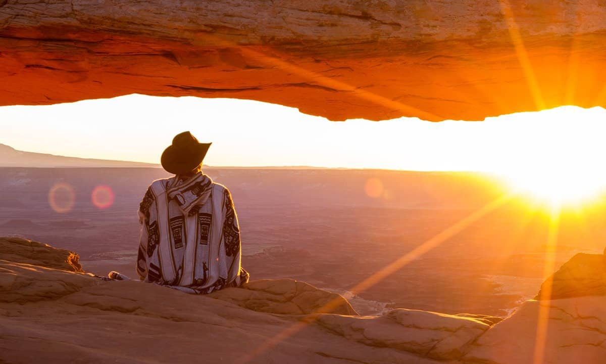 Watching the sunrise at Mesa Arch, Canyonlands National Park.