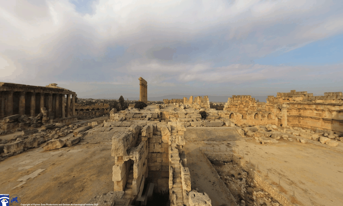 The ruined court at Baalbek as it looks today