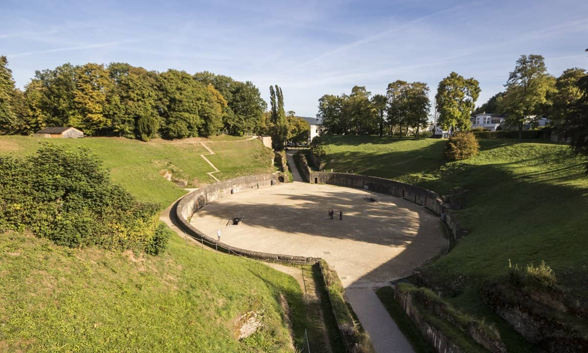 The large Roman amphitheatre in Trier was built into the side of a hill.