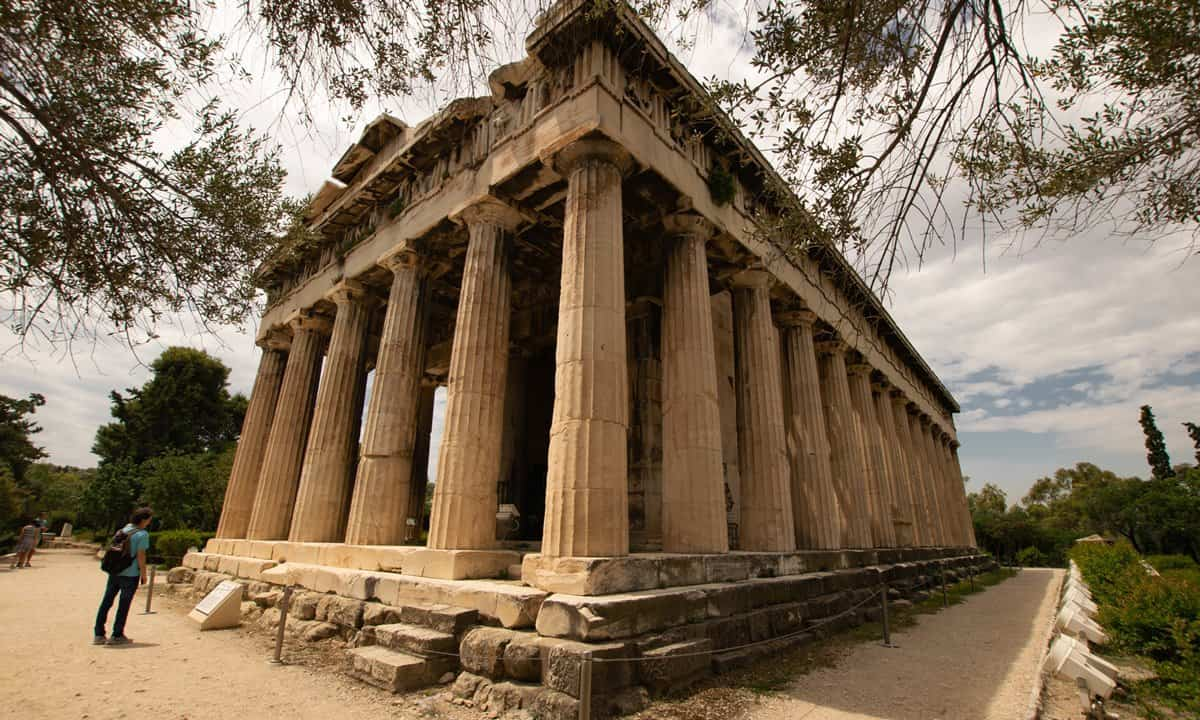 The Hephaisteion Doric temple in the Ancient Agora archaeological site.