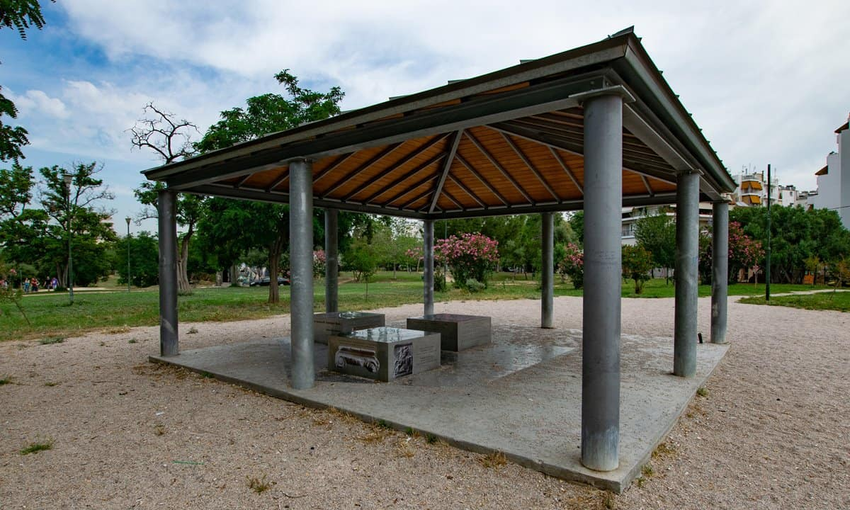 The information shelter at the Archaeological Park of Plato's Academy in Athens.