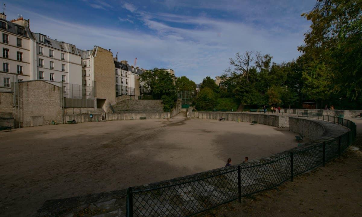 The reconstructed Roman amphitheatre in Paris, now a public park.