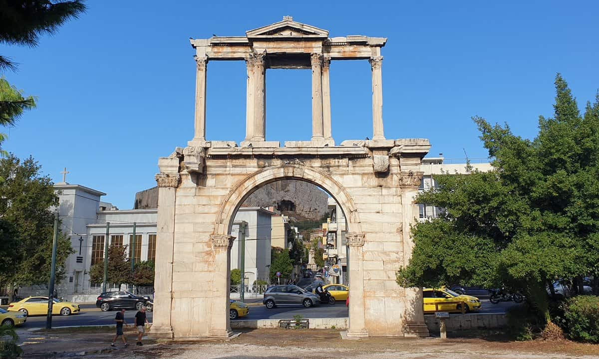 Hadrian's Arch with the Acropolis directly behind it.