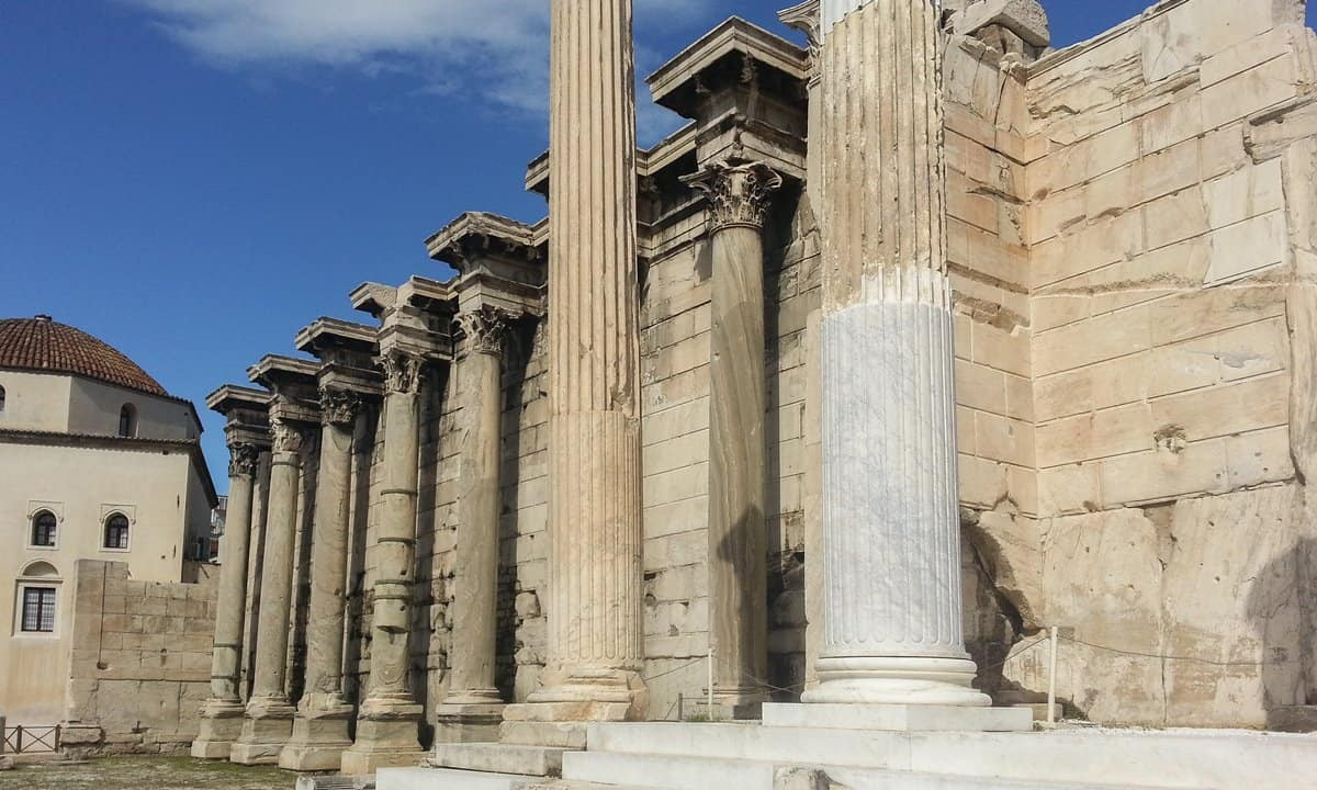 The entrance to Hadrian's Library at the Pentelic marble façade in Athens, Greece.