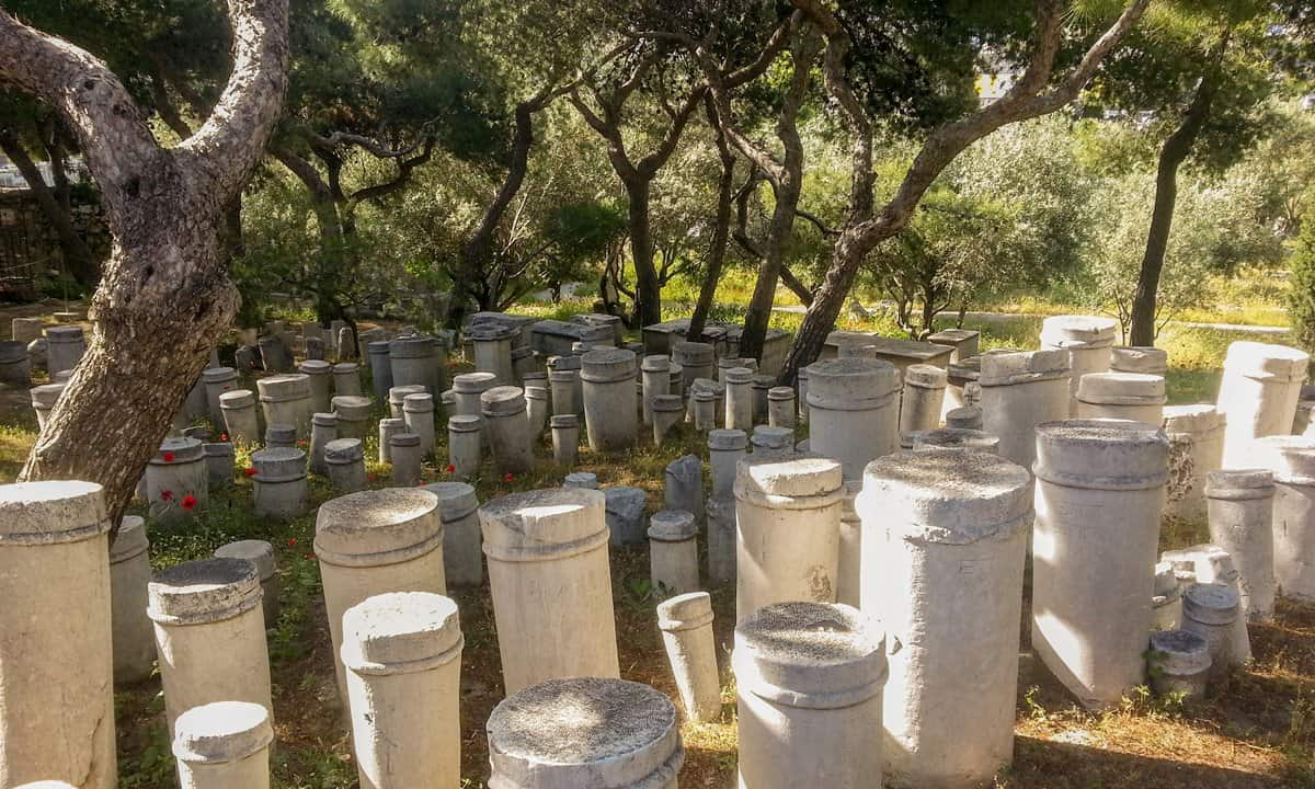 Tombstones with ancient Greek inscriptions at Kerameikos ancient cemetery in Athens.