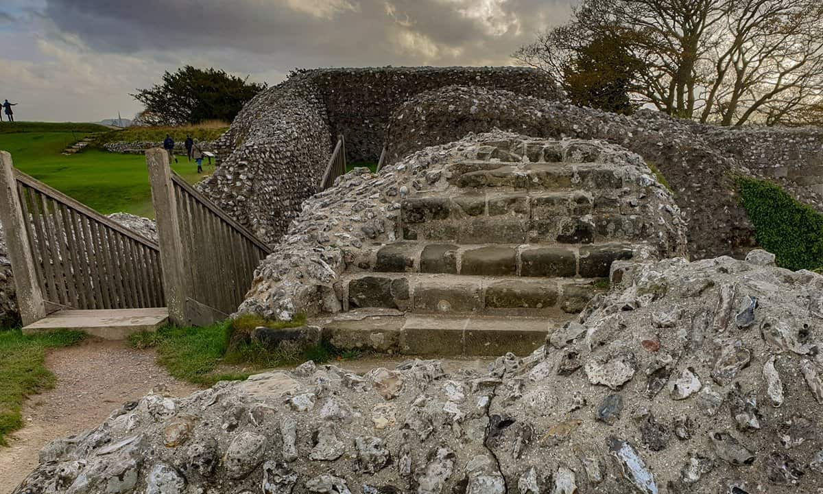 The stairs of the King's Great Tower at Old Sarum, Salisbury.