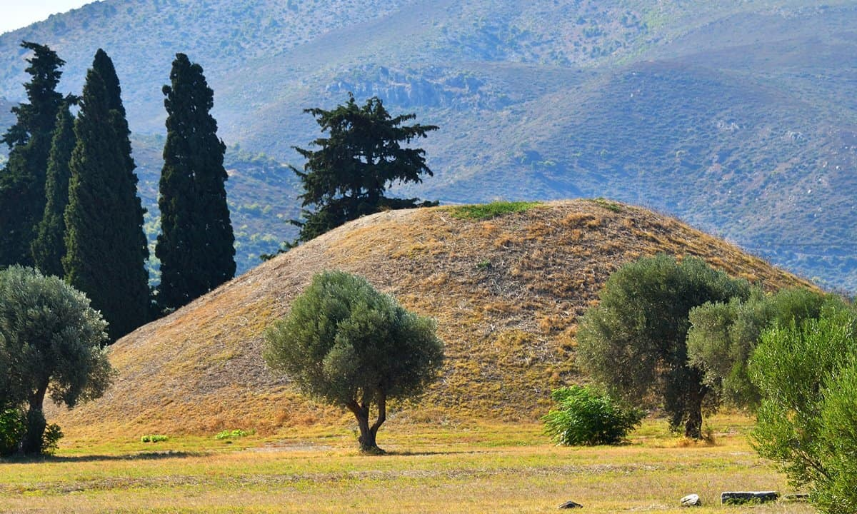 One of the many burial mounds on the plain of Marathon, Greece.
