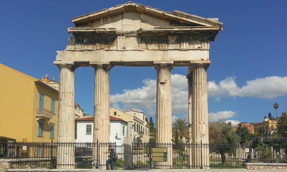 The gate of Athena Archegetis at the entrance to the Roman Agora.