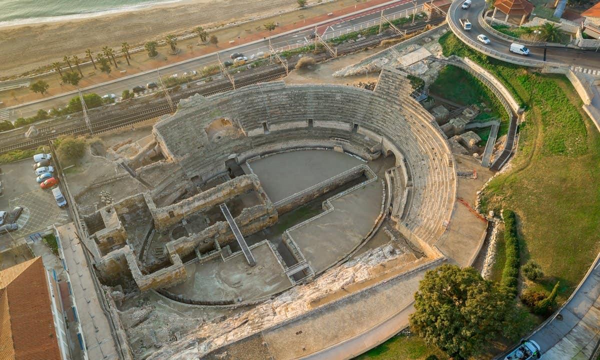 The seaside position of the Roman amphitheatre in Tarragona, Spain.