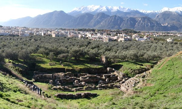 The view of the Taygetus Mountains from above the ancient theatre in Sparta, Greece.