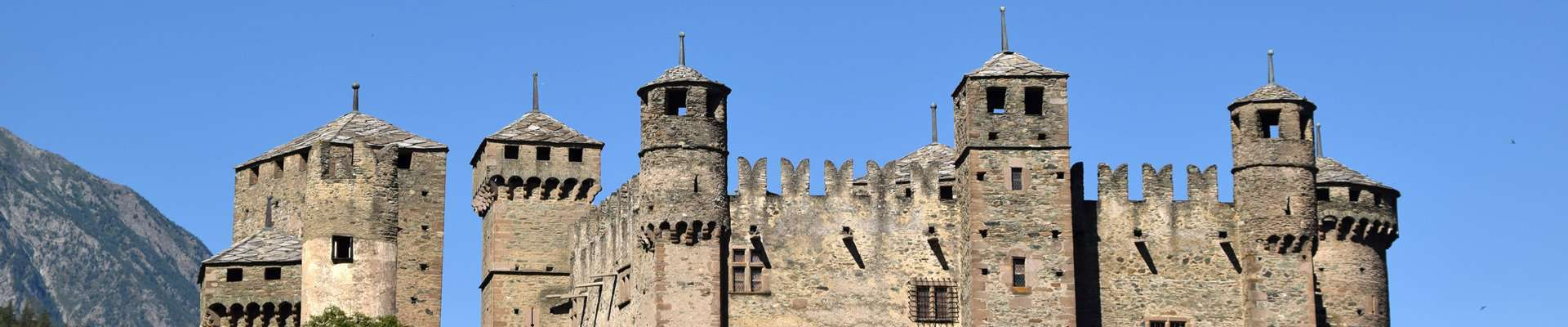 The many towers of Fénis Castle in the Aosta Valley of northern Italy.